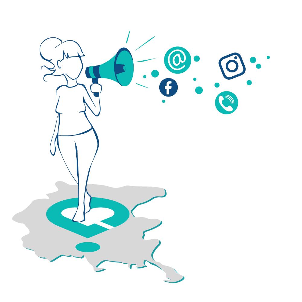 illustrazione ragazza con megafono